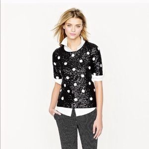 Women's B&W Sequin Polka Dot J. Crew Top Small